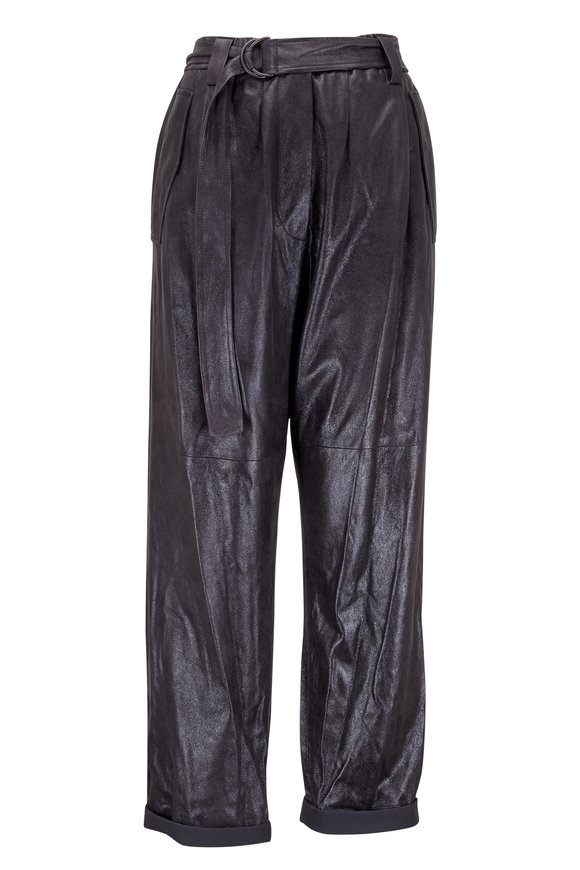 Brunello Cucinelli Black Metallic Leather Belted Pant
