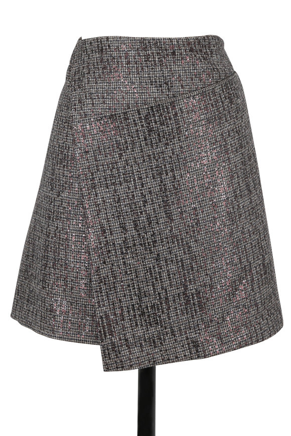 Brunello Cucinelli Military Tweed Pailette Wrap Front Mini Skirt