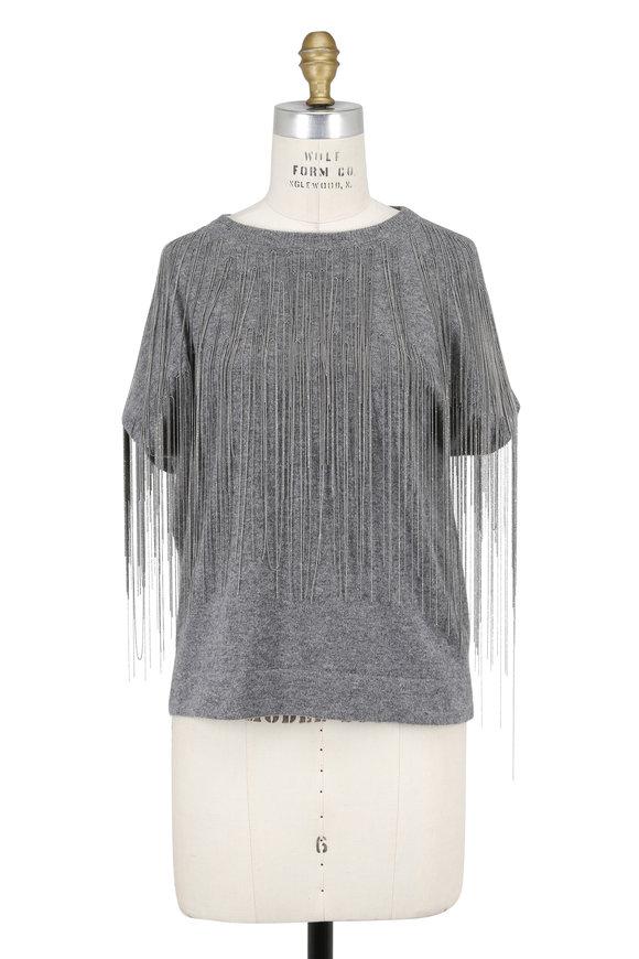 Brunello Cucinelli Gray Cashmere Monili Fringe Short Sleeve Sweater