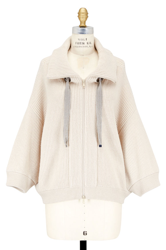 Brunello Cucinelli Latte Ribbed Cashmere Monili Drawstring Cardigan