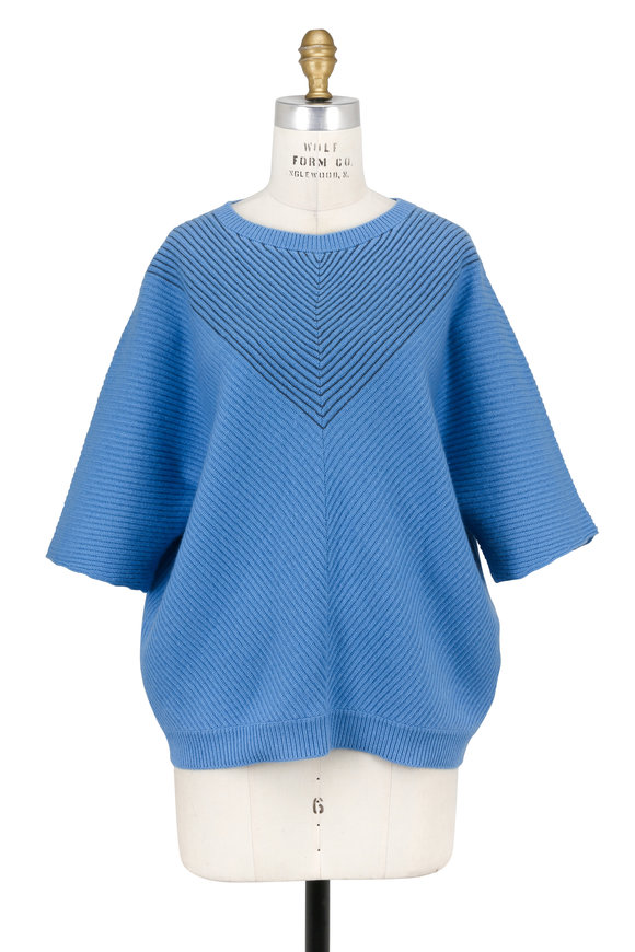Brunello Cucinelli Cerulean Cashmere Monili Chevron Ribbed Sweater