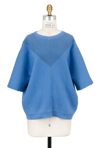 Brunello Cucinelli - Cerulean Cashmere Monili Chevron Ribbed Sweater