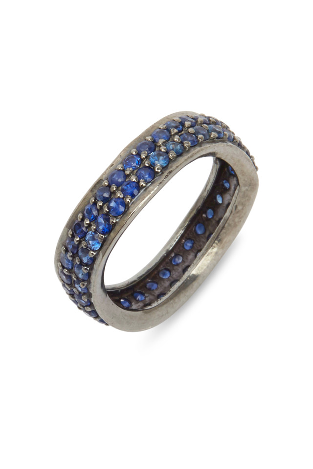 Sterling Silver Blue Sapphire Diamond Band