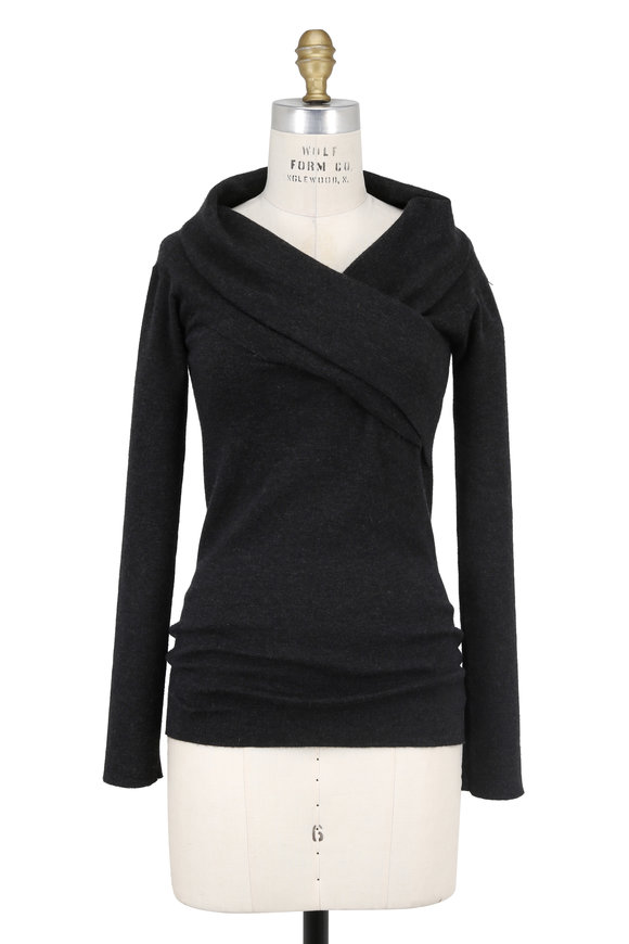 Brunello Cucinelli Anthracite Cashmere Foldover V-Neck Sweater