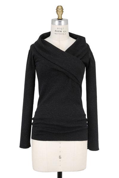 Brunello Cucinelli - Anthracite Cashmere Foldover V-Neck Sweater