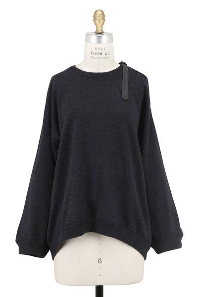 Brunello Cucinelli - Onyx Cashmere Shoulder Cut-Out Sweater