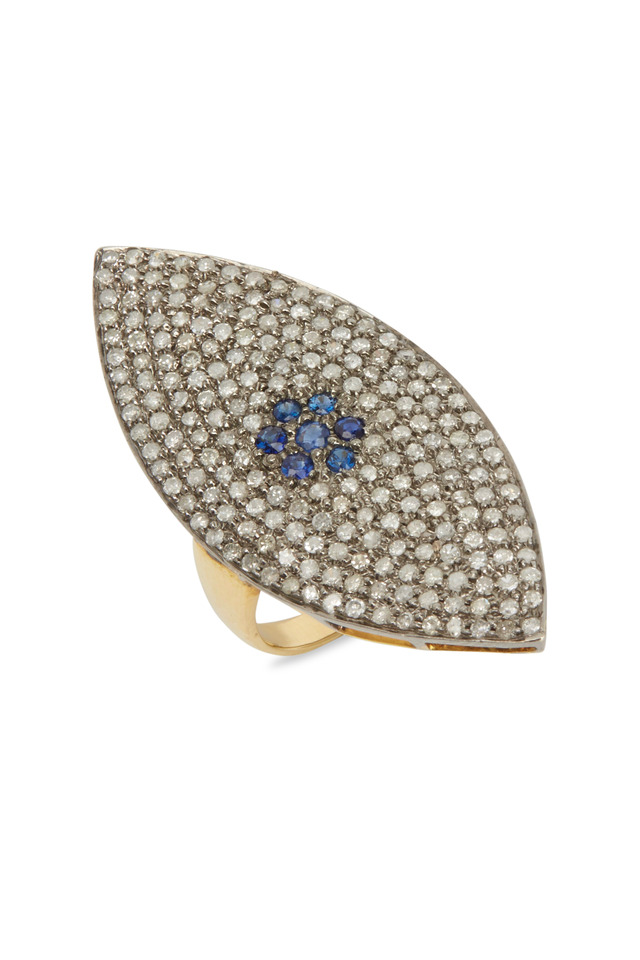 Sterling Silver Sapphire Diamond Marquise Ring