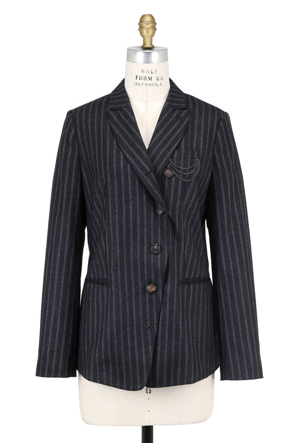 Brunello Cucinelli Anthracite Flannel Pinstriped Monili Pocket Jacket