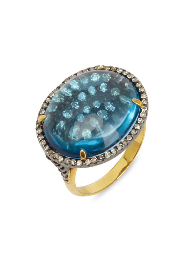 Yellow Gold & Silver Blue Topaz Diamond Ring