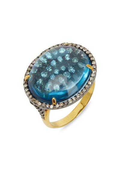 Loriann - Yellow Gold & Silver Blue Topaz Diamond Ring