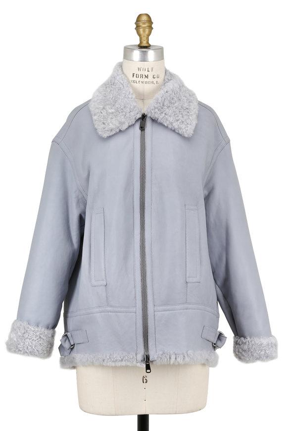Brunello Cucinelli Light Blue Shearling Moto Jacket