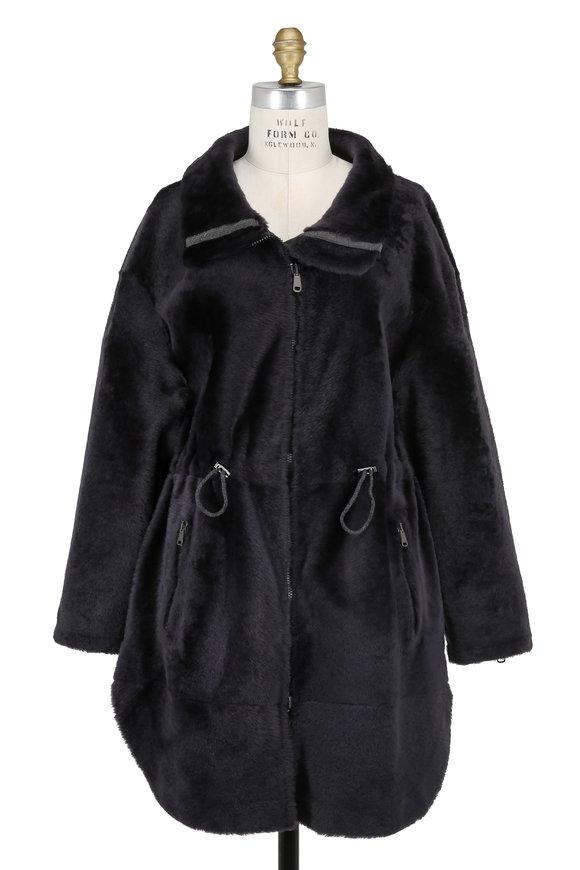 Brunello Cucinelli Graphite Shearling & Leather Reversible Coat