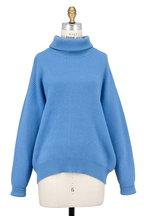 Brunello Cucinelli - Cerulean Ribbed Cashmere Turtleneck Sweater