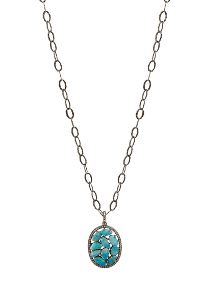 Loriann - Sterling Silver Opal Diamond Pendant Necklace