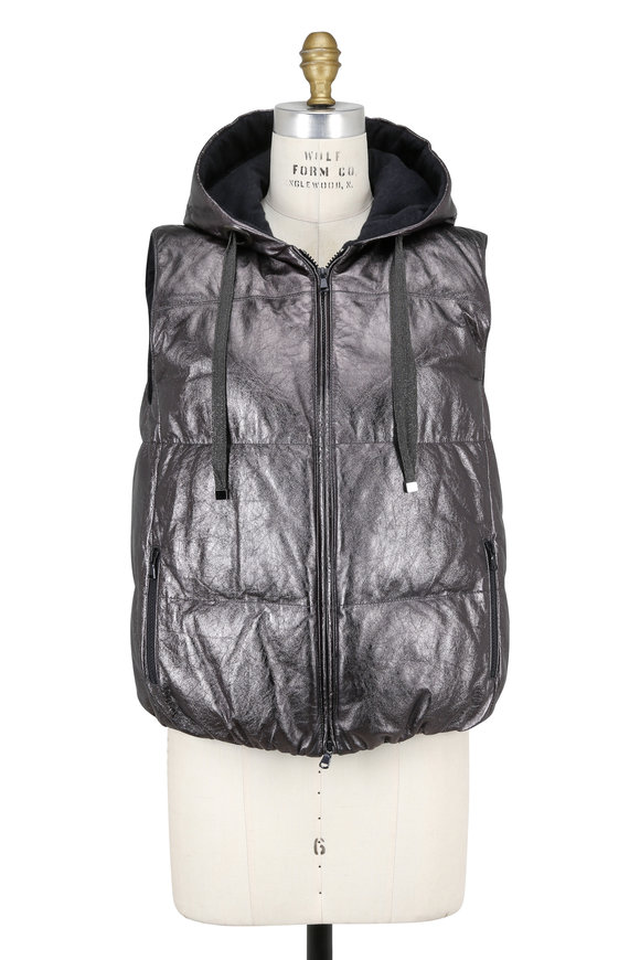 Brunello Cucinelli Onyx Metallic Leather Quilted Down Hooded Vest