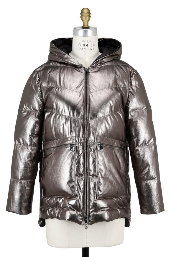 Brunello Cucinelli Mudd Metallic Leather Quilted Down Hooded Jacket
