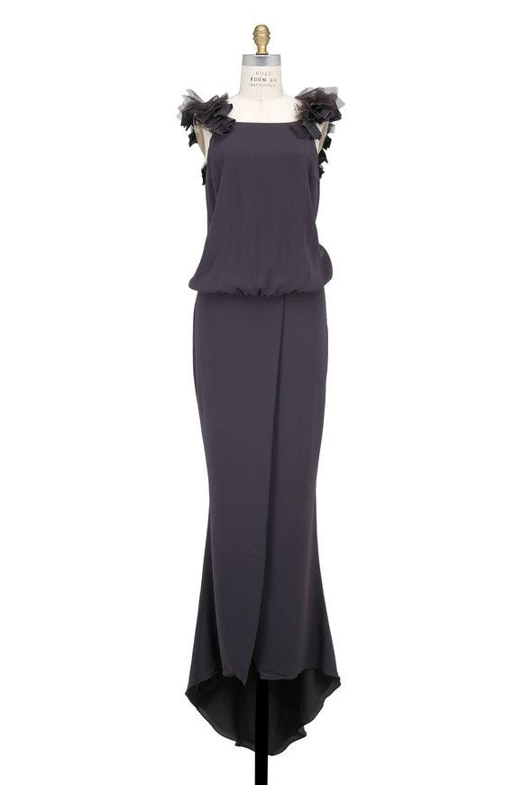Brunello Cucinelli Volcano Ruffled Tulle & Monili Sleeveless Gown
