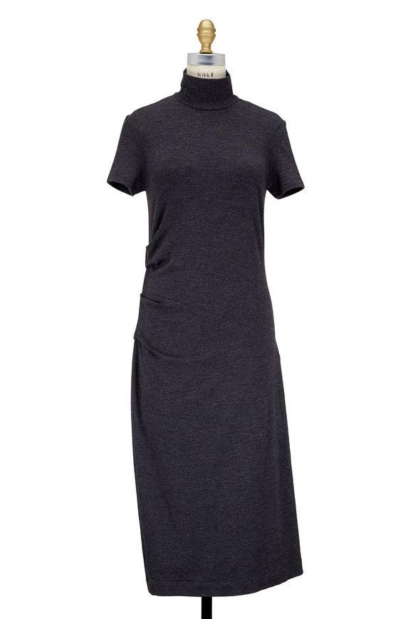 Brunello Cucinelli Anthracite Jersey Wool Ruched Turtleneck Dress