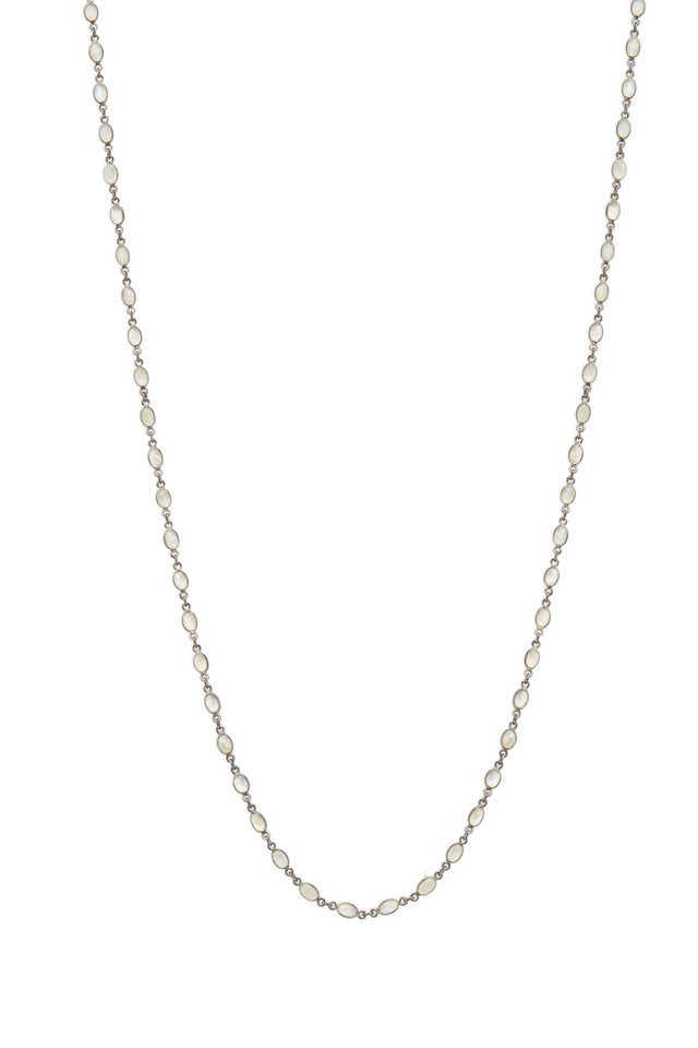 Sterling Silver Moonstone Accessory Chain Necklace