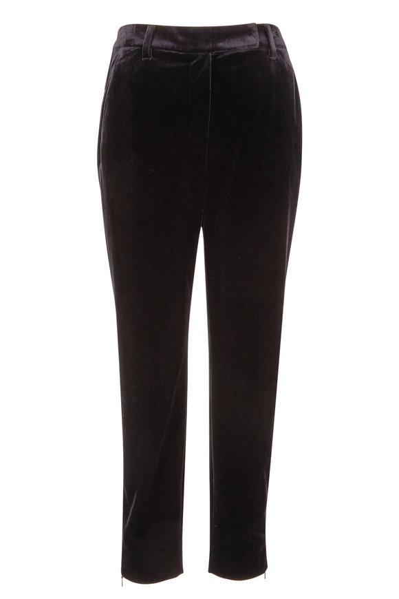 Brunello Cucinelli Black Velvet Ankle Zip Skinny Pant