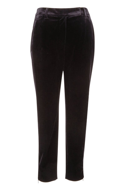 Brunello Cucinelli - Exclusively Ours! Black Velvet Skinny Pant