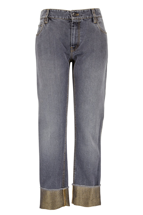 Brunello Cucinelli Gray Straight Leg Lurex Cuff Jean