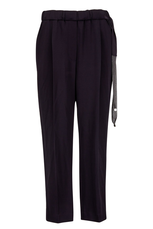 Brunello Cucinelli Black Silk Crêpe Monili Belt Pull-On Pant