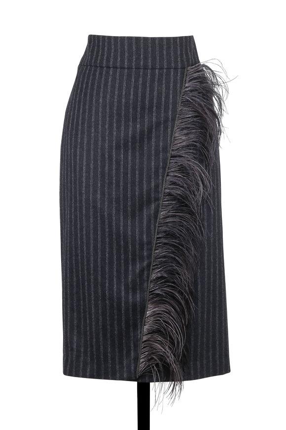 Brunello Cucinelli Anthracite Wool Pinstriped Ostrich Feather Skirt