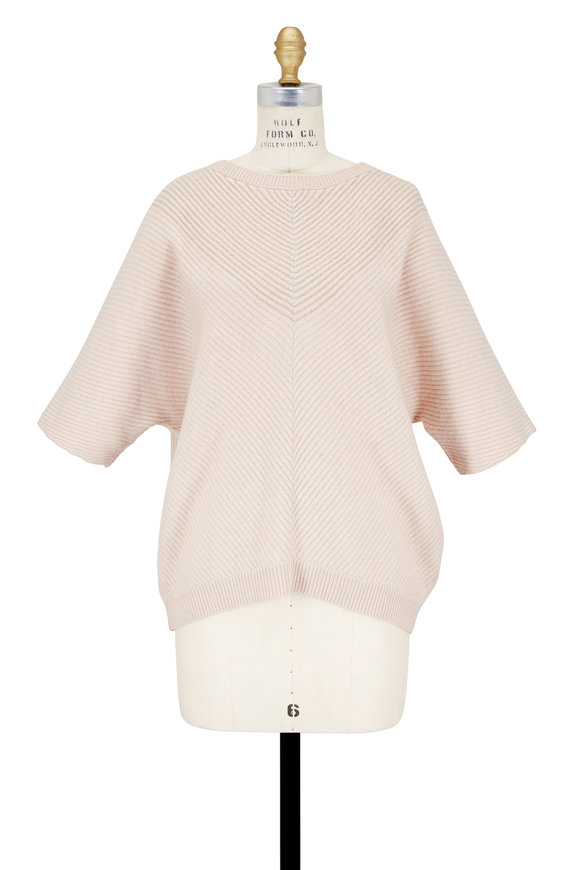 Brunello Cucinelli Light Pink Cashmere Monili Chevron Ribbed Sweater