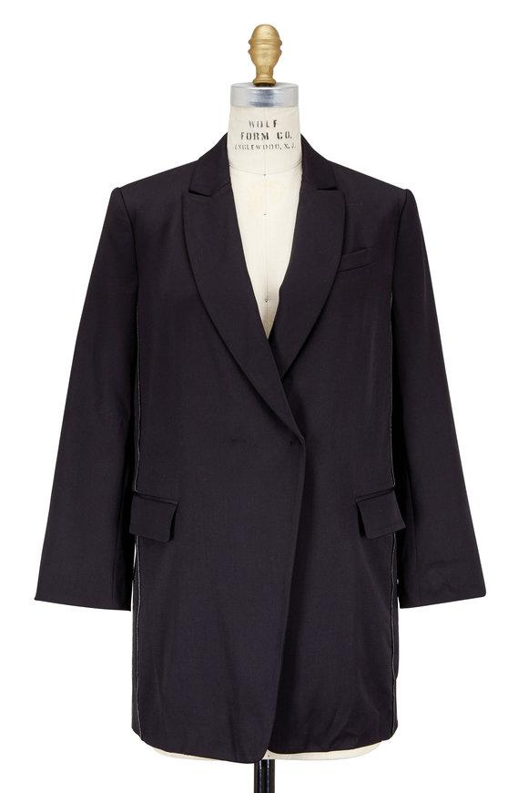 Brunello Cucinelli Black Stretch Wool Monili Side Blazer