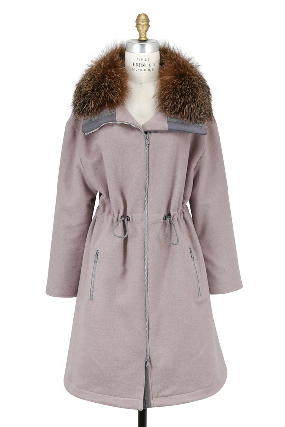 Brunello Cucinelli Dusty Pink Wool & Cashmere Detachable Fur Coat