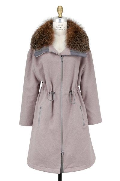 Brunello Cucinelli - Dusty Pink Wool & Cashmere Detachable Fur Coat
