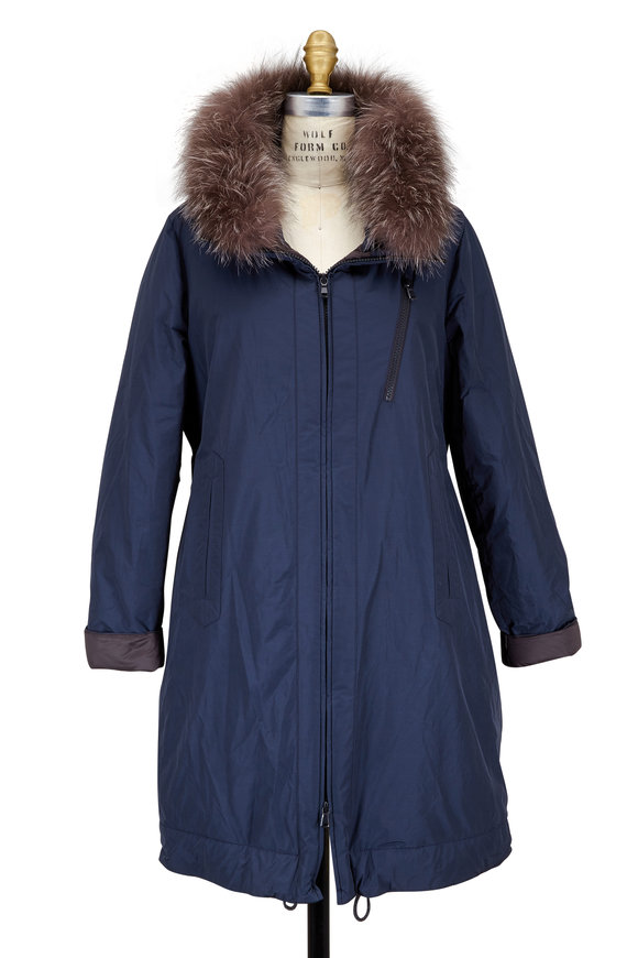Brunello Cucinelli Navy Blue Tech Taffeta Fur Collar Down Parka