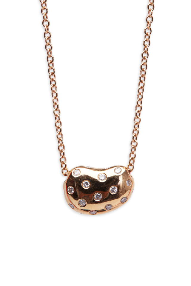 Pink Gold Sprinkled Pebble Diamond Pendant