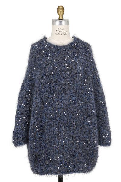 Brunello Cucinelli - Oxford Blue Mohair Macro Pailette Sweater