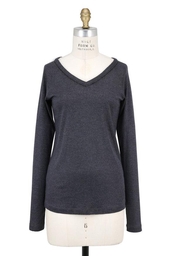 Brunello Cucinelli Volcano Wool & Mohair Trim V-Neck Sweater