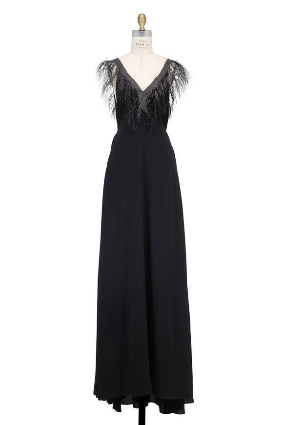 Brunello Cucinelli Black Silk Crêpe Monili & Feather V-Neck Gown