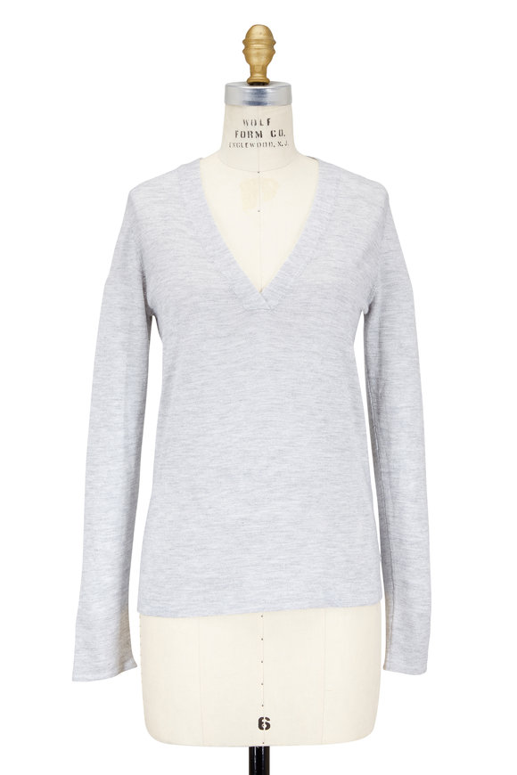 Brunello Cucinelli Pebble Gray Cashmere, Silk & Lurex V-Neck Sweater
