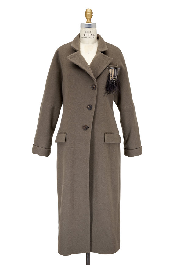 Brunello Cucinelli Military Cashmere Asymmetric Button Coat With Pin