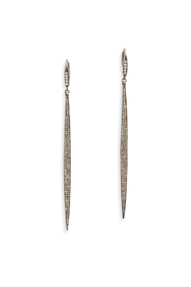 Pavé-Set White Diamond Hanging Dagger Earrings