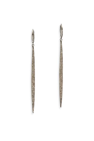 Tulah Jem - Pavé-Set White Diamond Hanging Dagger Earrings