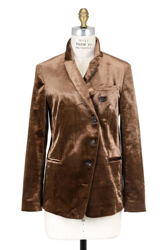 Brunello Cucinelli Cognac Velvet Asymmetric Four Button Jacket