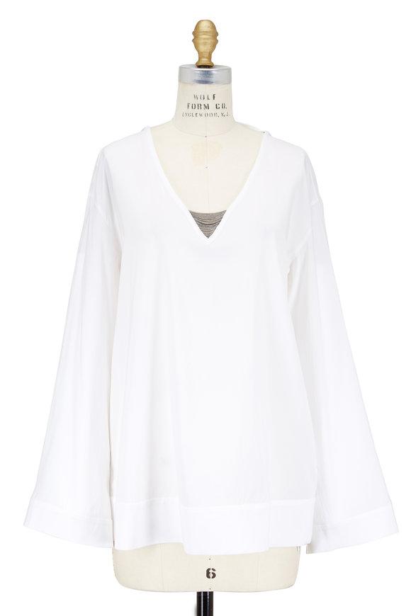 Brunello Cucinelli White Stretch Silk Deep V-Neck Blouse