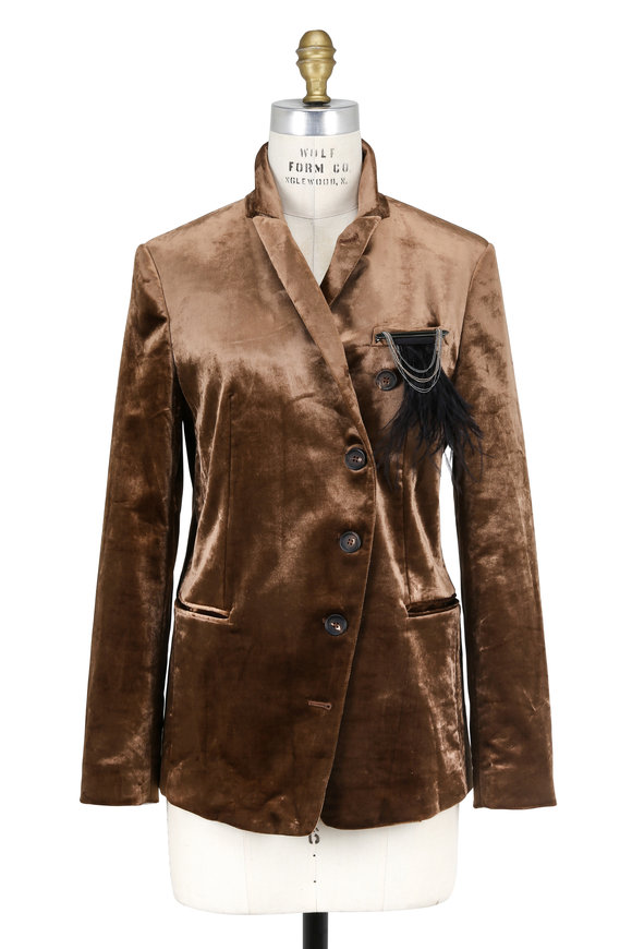 Brunello Cucinelli Cognac Velvet Detachable Monili Pin Jacket