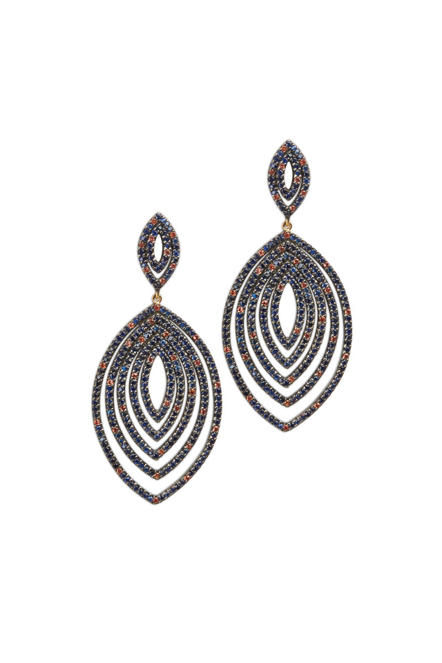 Gold Grotto Marquise Sapphire Dangle Earrings
