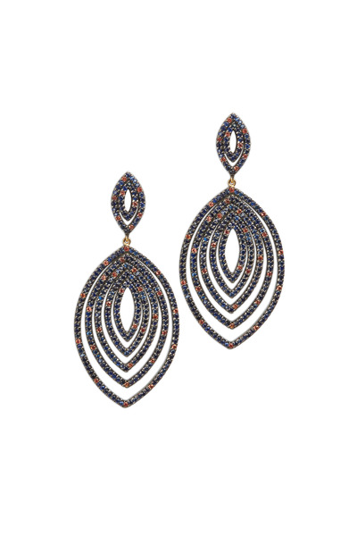 Loriann - Gold Grotto Marquise Sapphire Dangle Earrings