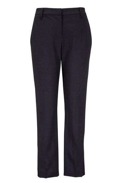 Brunello Cucinelli - Onyx Lightweight Wool Metallic Inset Cuff Pant