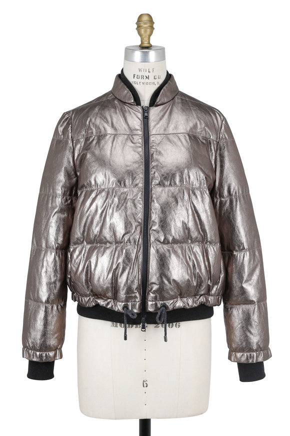 Brunello Cucinelli Metallic Quilted Leather Bomber Jacket