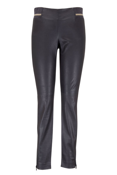 Brunello Cucinelli - Volcano Leather Pull-On Ankle Zip Pant