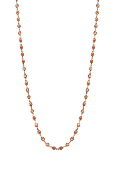 Loriann - Silver Orange Sunstone Accessory Chain Necklace